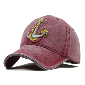 Wholesale anchor pattern washed cotton embroidered baseball cap