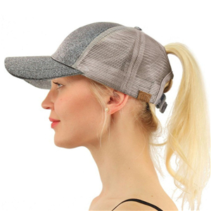 Wholesale silver silk sequin ponytail mesh baseball cap