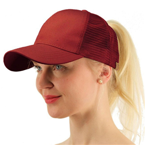 Pure cotton ponytail mesh cap cheap from China