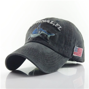 China wholesale shark pattern embroidered cotton baseball cap