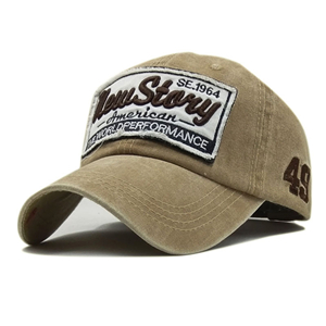 Wholesale patched washed cotton baseball cap