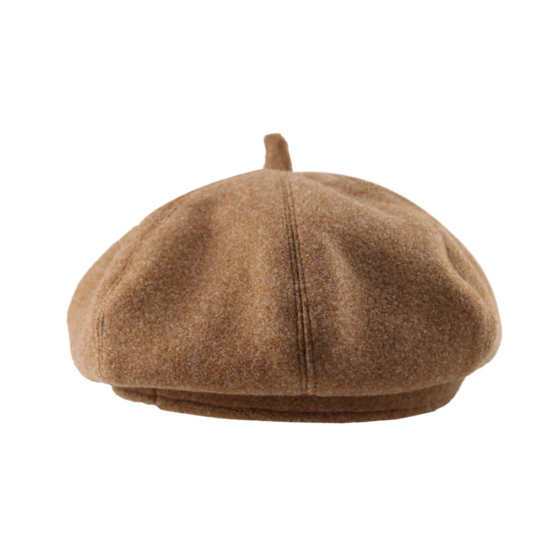 Wholesale literary beret small fresh pure color woo